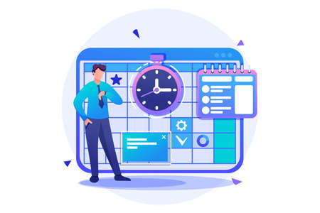 Entrepreneur plans the time for calendar for the month. Flat 2D character. Concept for web design.