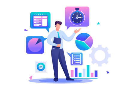 Young businessman is engaged in time management. Flat 2D character. Concept for web design. 일러스트