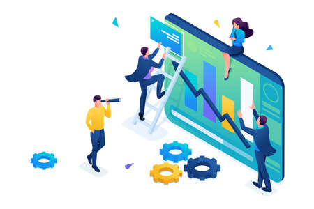 Young people collect information for data analysis. 3D isometric. Concept for web design.