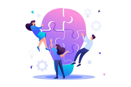 Young team Creates an idea, teamwork, Brainstorm. Flat 2D character. Concept for web design. 일러스트