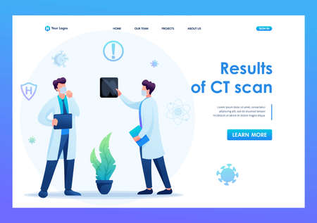 Doctors discuss the results of the CT study. Keeps a social distance and wears masks. Flat 2D. Vector illustration for a landing page.