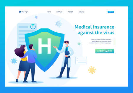 Protect yourself from the virus, health insurance. Keeps a social distance and wears masks. Flat 2D. Vector illustration for a landing page. 일러스트
