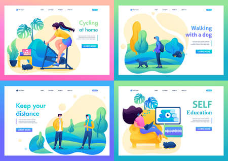 Set 2D Flat on the topic of female self-isolation, work at home, online training, sports. For Landing page concepts and web design.