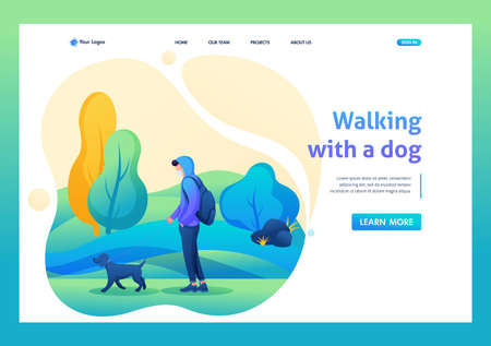 Young man walks with a dog with a mask on his face during an epidemic. Flat 2D character. Landing page concepts and web design.