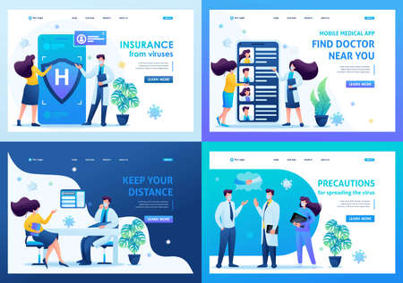 Set of landing pages on the topic of medicine during the epidemic. Vector illustration Keeping a distance and wearing masks.