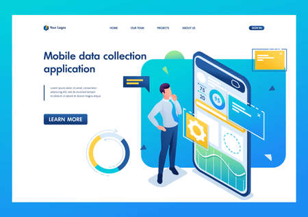 Young man works on a mobile application for data collection and analysis. 3D isometric. Landing page concepts and web design.
