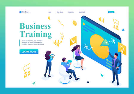 Isometric Business coach trains employees of the company. Landing page concepts and web design.