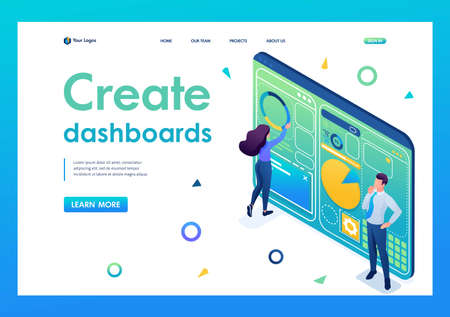 Young people are working on creating a dashboard with an individual menu. 3D isometric. Landing page concepts and web design.