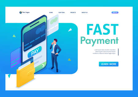 Young man makes an online payment through a mobile application. 3D isometric. Landing page concepts and web design. 일러스트