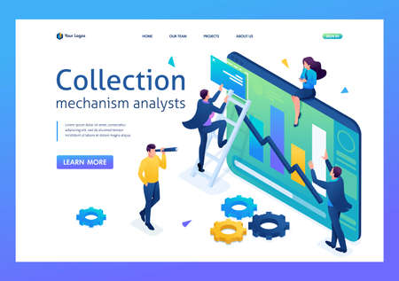 Young people collect information for data analysis. 3D isometric. Landing page concepts and web design. 일러스트