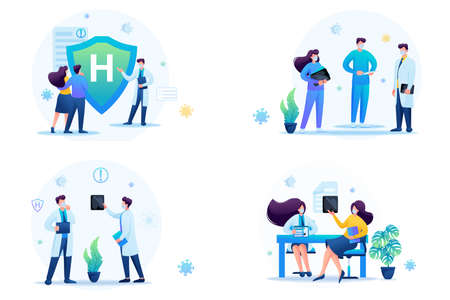 Set of web design on the topic of medicine during the epidemic. vector illustration Protect yourself from the virus. 일러스트
