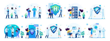 Sets of medical concepts for creating illustrations and landing pages. Transmission of the virus, testing for the virus. 일러스트