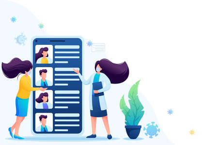 Use the mobile app to search for a doctor. Keeps a social distance and wears masks. Flat 2D. Vector illustration for web design. 일러스트