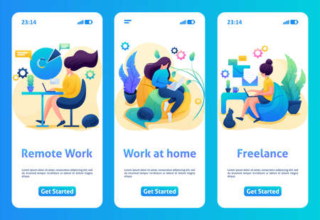 Mobile app design, template. 2D character stays at home, quarantined. Girl works as a freelancer, at a remote job. Иллюстрация