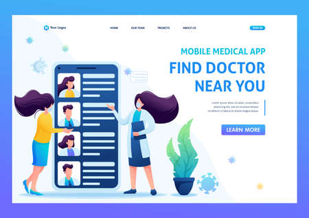 Use the mobile app to search for a doctor. Keeps a social distance and wears masks. Flat 2D. Vector illustration for a landing page.