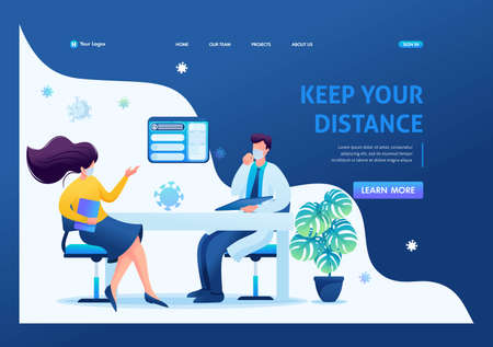 Keeping a distance in the doctor's office. Keeps a social distance and wears masks. Flat 2D. Vector illustration landing page.