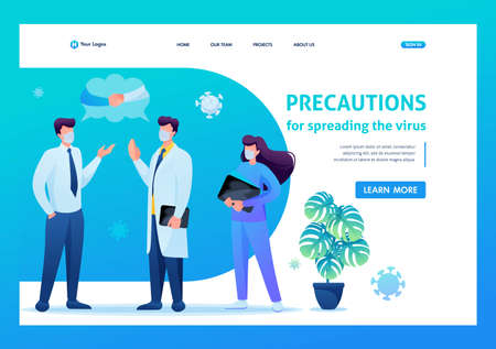 Virus can be transmitted through a Handshake, so say Hello verbally. Keeps a social distance and wears masks. Flat 2D. Vector illustration landing page.