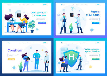Set of landing pages on the topic of medicine during the epidemic. vector illustration Protect yourself from the virus. 일러스트