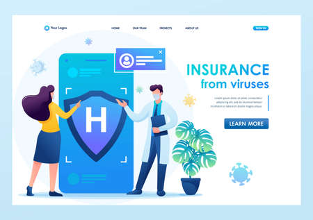 Protect yourself from the virus, get medical insurance. Keeps a social distance and wears masks. Flat 2D. Vector illustration landing page.