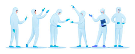 Set of characters in the form of doctors in protective clothing during an epidemic of viral infection.