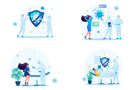 Set of web design on the topic of medicine during the epidemic. Vector illustration treatment of patients with viral infection.