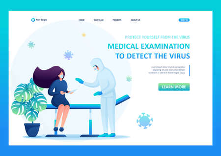 Medical examination of a patient infected with a viral infection. Flat 2D. Vector illustration landing page.