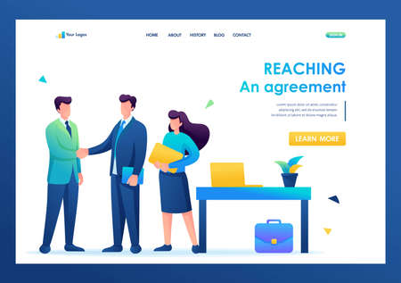Partners have reached agreements and are signing a contract. Flat 2D. vector illustration landing page.
