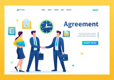Businessmen of large companies sign an agreement and conclude a contract. Flat 2D. vector illustration landing page.