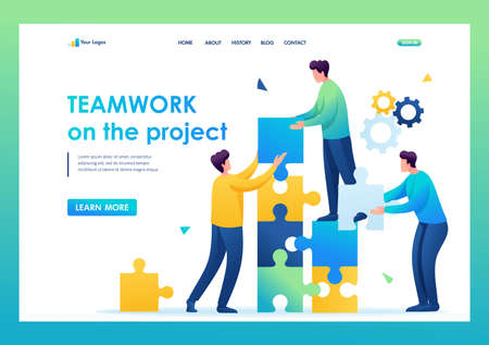 Young entrepreneurs are working together on the project. Flat 2D. vector illustration landing page. 일러스트