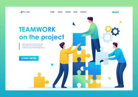 Young entrepreneurs are working together on the project. Flat 2D. vector illustration landing page. Ilustração