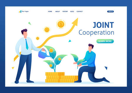 Young entrepreneurs create a joint business and invest in the project. Flat 2D. Vector illustration landing page. 일러스트