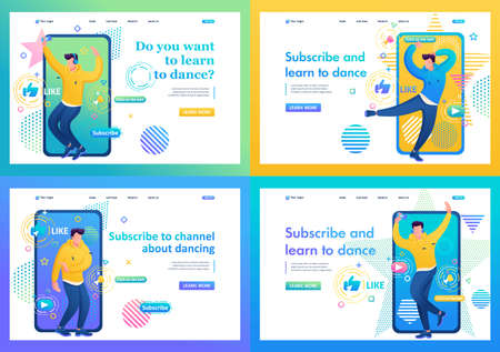 Set of Landing page about channels with dance training for young people. Subscribe and learn to dance. I'll teach you to dance. 일러스트