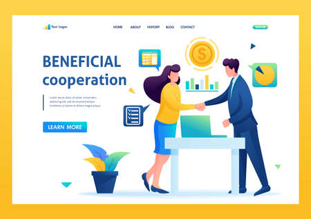 Partners have reached a profitable cooperation, business partnership. Flat 2D. vector illustration landing page.
