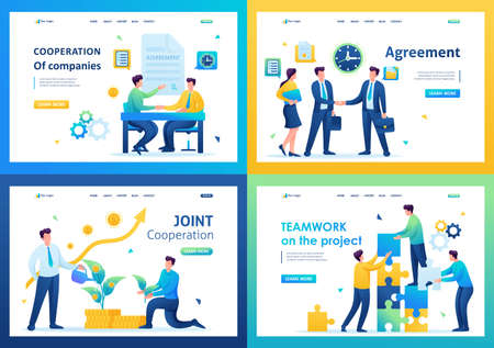 Set of landing pages on the topic of cooperation between companies. Flat 2D. vector illustration.