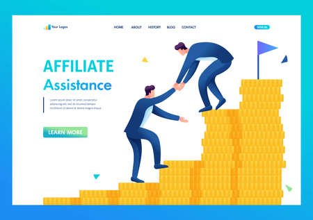 An entrepreneur helps a friend climb the ladder to wealth. Flat 2D. vector illustration landing page.