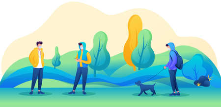 Young people walk in the Park with masks on their faces and observe a social distance. Vector illustration with 2D characters. 일러스트