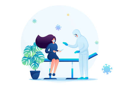 Medical examination of a patient infected with a viral infection.Flat 2D. Vector illustration web design.