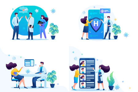 Set of web design on the topic of medicine during the epidemic. Vector illustration Keeping a distance and wearing masks. 일러스트