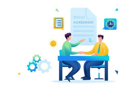 Merger of companies, businessmen sign an agreement. Flat 2D. vector illustration Web design. Vektorgrafik