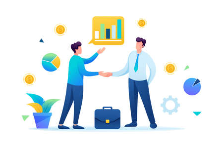 Successful cooperation between two businessmen. Flat 2D. vector illustration web design.