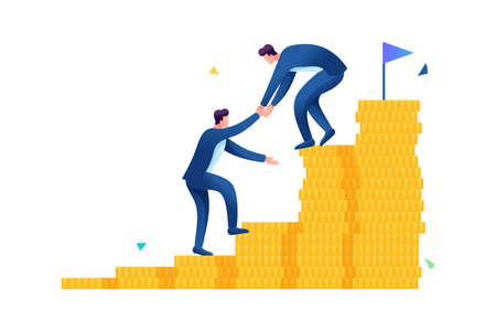 An entrepreneur helps a friend climb the ladder to wealth. Flat 2D. vector illustration web design.