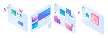 Isometric sets of operating concepts on tablet screens. Bright design for advertising concepts and web design development.