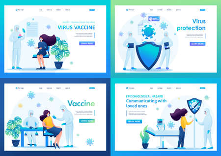 Virus vaccine. Set of landing pages of illustrations during the epidemic. 2D characters.