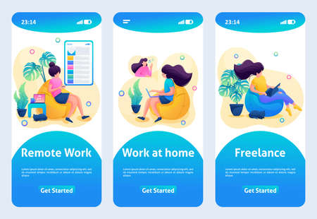 Mobile app design, template. 2D character. The girl works at a remote job, work at home. Çizim