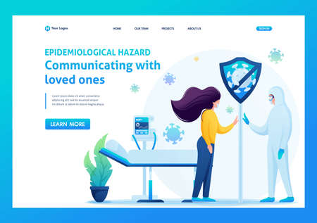 Communication with loved ones during treatment of a viral infection. Flat 2D. Vector illustration landing page