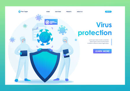 Virus protection, quarantine, social distance, hygiene. Flat 2D. Vector illustration landing page.