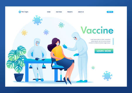 Vaccination of patients during an epidemic. Flat 2D. Vector illustration landing page. Çizim