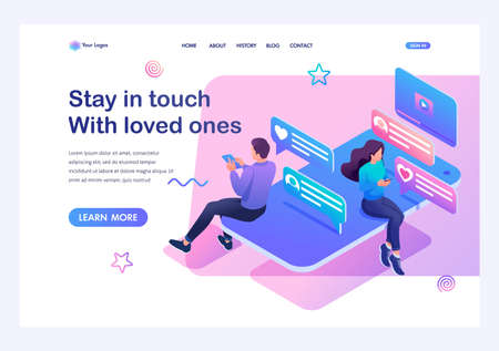 Isometric concept smartphone and social networks for teenagers a way to stay in touch with loved ones. Training of a young man. Template landing page for website.