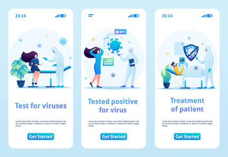 Testing patients for the presence of virus in the blood. Flat 2D. Vector illustration mobile app. Çizim