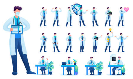 Set of Man doctor. Presentation in various in various poses and actions. 2D Flat character vector illustration N2.